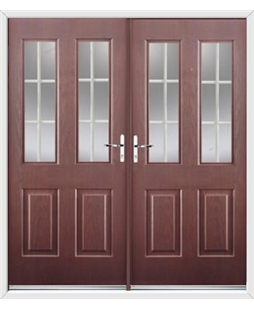 Jacobean French Rockdoor in Rosewood with White Georgian Bar