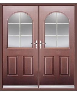 Kentucky French Rockdoor in Rosewood with White Georgian Bar
