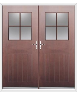 Cottage View Light French Rockdoor in Rosewood with Georgian Bar Woodgrain