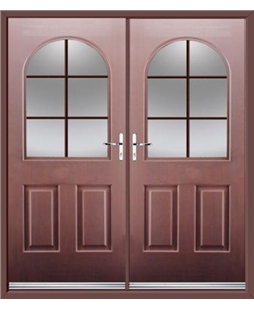 Kentucky French Rockdoor in Rosewood with Woodgrain Georgian Bar
