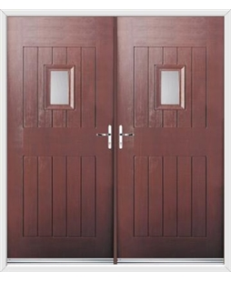 Cottage Spy View French Rockdoor in Rosewood with Glazing