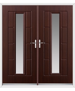 Vermont French Rockdoor in Rosewood with Glazing