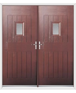 Cottage Spy View French Rockdoor in Rosewood with Gluechip Glazing