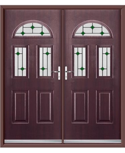 Tennessee French Rockdoor in Rosewood with Green Diamonds