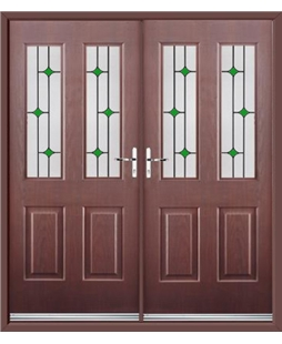 Jacobean French Rockdoor in Rosewood with Green Diamonds