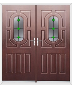 Arcacia French Rockdoor in Rosewood with Green Diamonds