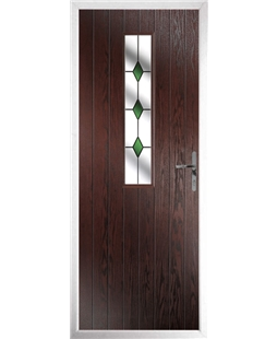 The Sheffield Composite Door in Rosewood with Green Diamonds