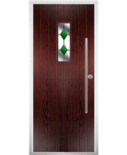 The Zetland Composite Door in Rosewood with Green Diamonds