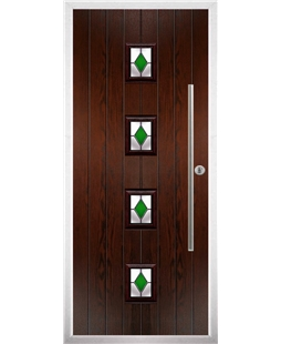 The Leicester Composite Door in Rosewood with Green Diamonds