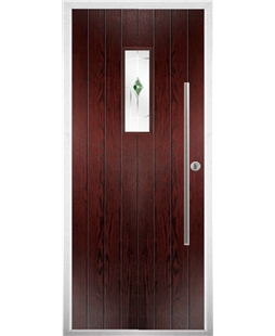 The Zetland Composite Door in Rosewood with Green Murano