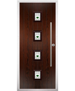 The Leicester Composite Door in Rosewood with Green Murano