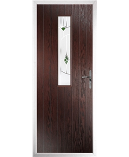The Sheffield Composite Door in Rosewood with Green Murano