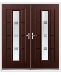 Vermont French Rockdoor in Rosewood with Grey Shades