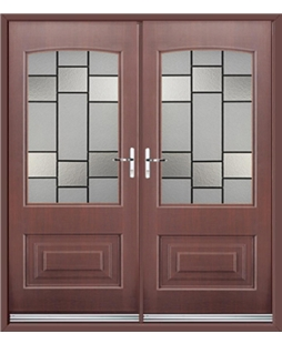 Portland French Rockdoor in Rosewood with Horizon