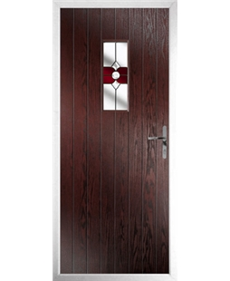 The Taunton Composite Door in Rosewood with Red Crystal Bohemia