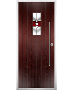 The Zetland Composite Door in Rosewood with Red Crystal Bohemia
