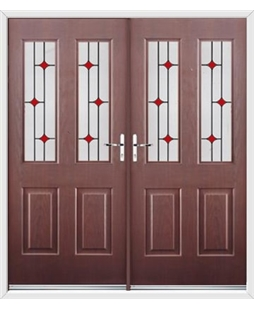 Jacobean French Rockdoor in Rosewood with Red Diamonds