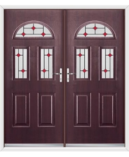 Tennessee French Rockdoor in Rosewood with Red Diamonds
