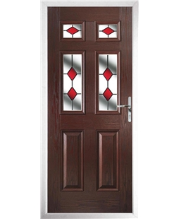 The Oxford Composite Door in Rosewood with Red Diamonds