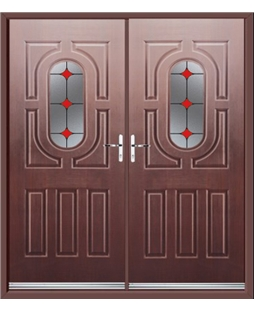 Arcacia French Rockdoor in Rosewood with Red Diamonds