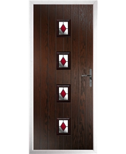 The Uttoxeter Composite Door in Rosewood with Red Diamonds