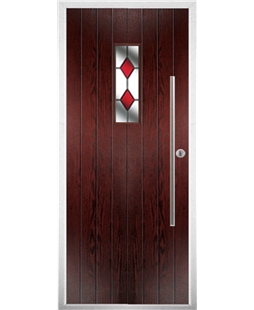 The Zetland Composite Door in Rosewood with Red Diamonds