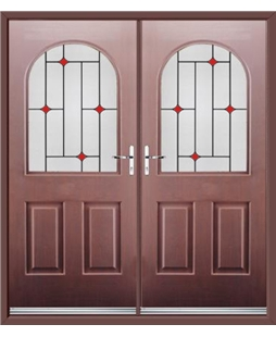 Kentucky French Rockdoor in Rosewood with Red Diamonds