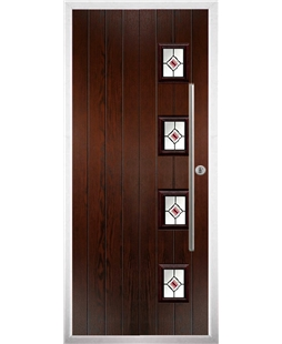 The Norwich Composite Door in Rosewood with Red Fusion Ellipse