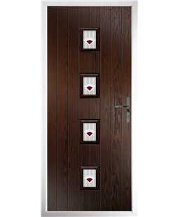 The Uttoxeter Composite Door in Rosewood with Red Murano