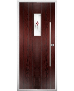The Zetland Composite Door in Rosewood with Red Murano
