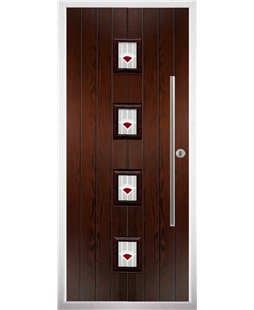 The Leicester Composite Door in Rosewood with Red Murano