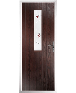 The Sheffield Composite Door in Rosewood with Red Murano