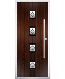 The Leicester Composite Door in Rosewood with Simplicity