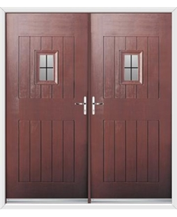 Cottage Spy View French Rockdoor in Rosewood with Square Lead