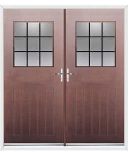 Cottage View Light French Rockdoor in Rosewood with Square Lead