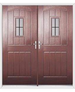 English Cottage French Rockdoor in Rosewood with Square Lead