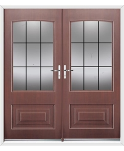 Portland French Rockdoor in Rosewood with Square Lead