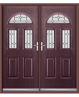 Tennessee French Rockdoor in Rosewood with White Diamonds