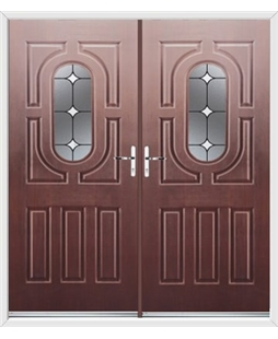 Arcacia French Rockdoor in Rosewood with White Diamonds