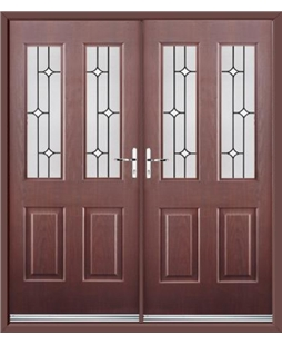 Jacobean French Rockdoor in Rosewood with White Diamonds