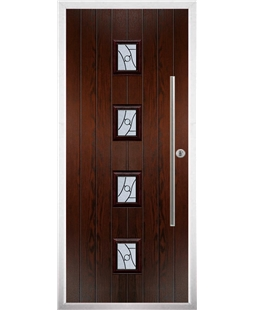 The Leicester Composite Door in Rosewood with Zinc Art Abstract