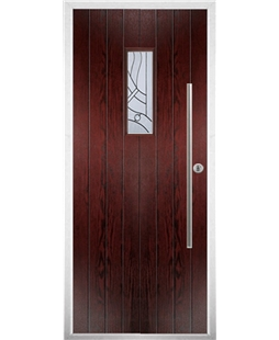 The Zetland Composite Door in Rosewood with Zinc art Abstract
