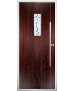 The Zetland Composite Door in Rosewood with Zinc Art Clarity