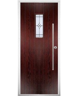 The Zetland Composite Door in Rosewood with Zinc Art Elegance
