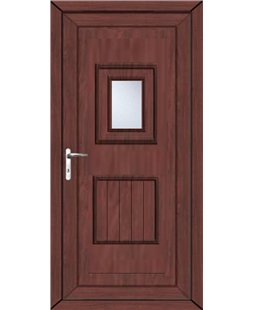 Luton Small Glazed uPVC High Security Back Door In Rosewood