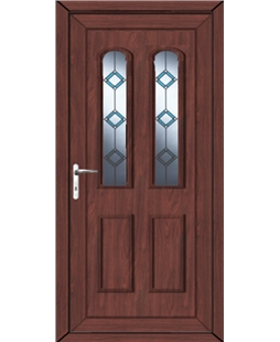 Northampton Blue Border Bevel uPVC High Security Door In Rosewood