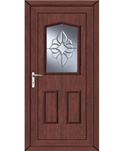 Oswestry China Cluster uPVC High Security Door In Rosewood