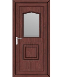 Portsmouth Glazed uPVC High Security Door In Rosewood