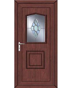 Portsmouth Coloured Bevel uPVC High Security Door In Rosewood