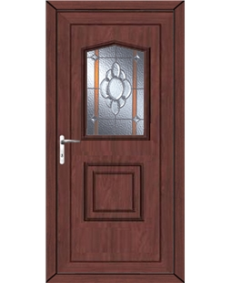Portsmouth Heaton Bevel Border uPVC High Security Door  In Rosewood